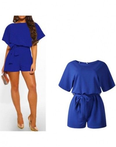 Good Quality Women's Summer Cotton Jumpsuits Casual Short Sleeve Elegant Playsuits Female Rompers Pockets Work Overalls - 02...