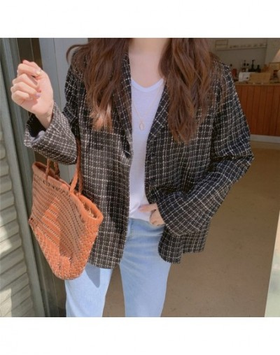 Autumn Chic Plaid Feminine Sweet 2019 Warm Women Woolen Elegant Loose Vintage Office Ladies All Match Coat Blazers - BLACK -...