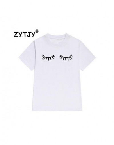 eyelash Print Women tshirt Cotton Casual Funny t shirt For Lady Girl Top Tee Hipster Tumblr Drop Ship Z-1000 - White - 4X391...
