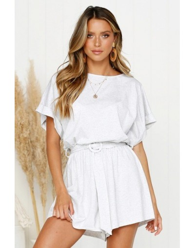 A Line Cotton Bodysuits Women Solid Casual Loose Playsuit Women 2019 Summer Streetwear Overalls Female Jumpsuits - White - 3...