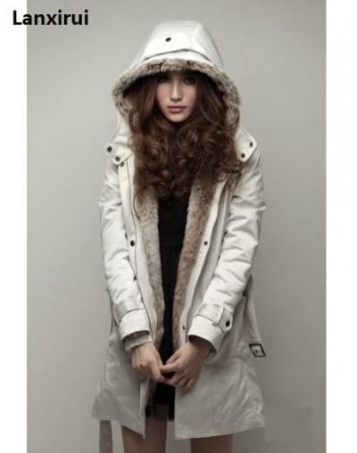 Faux Fur Lining Women 'S Fur Hoodies Ladies Coats Sping Winter Warm Long Coat Jacket Cotton Clothes Thermal Parkas - Beige -...