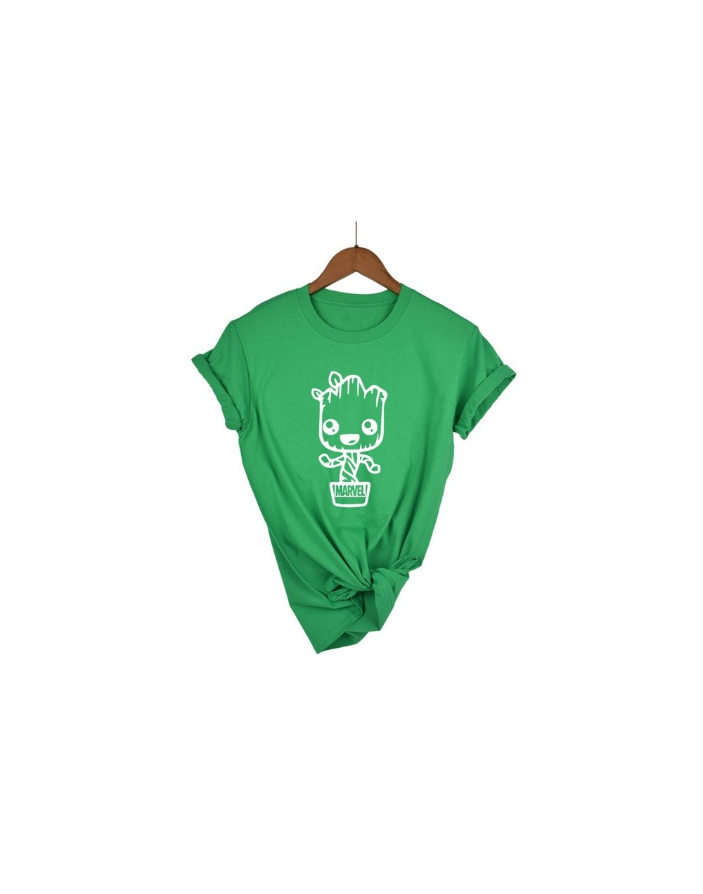 Newest 2018 Funny kawaii GROOT MARVEL 100% Cotton T-shirt Women's Fashion Short Sleeve Tee Shirts Hipster O-neck Popular T S...