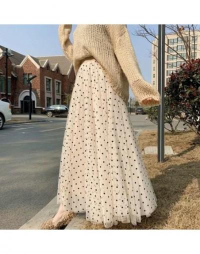 High Waist Long Tulle Skirt 2019 New Korean Summer Polka Dot Pleated Skirts Women Kawaii A Line Maxi Skirt Falda Jupe Femme ...