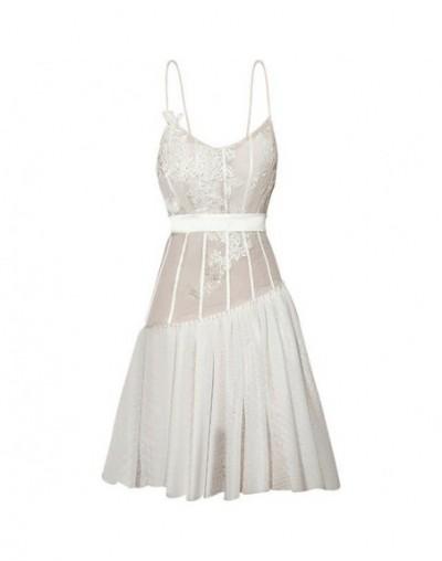 Summer Embroidery Sexy Women Dress Sleeveless Off Shoulder High Waist Patchwork Dresses Female Fashion 2019 New - white - 4J...