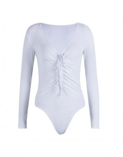 long sleeve women bodysuit turtleneck sexy solid 2019 autumn winter female warm clothes slim fit fashion body suit - White -...