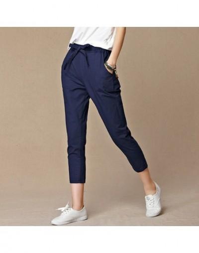 Summer Pants Women High Quality Solid Cotton Linen Pants Casual Elastic Waist Slim Trousers Capris Women Pantalon Femme S-4X...