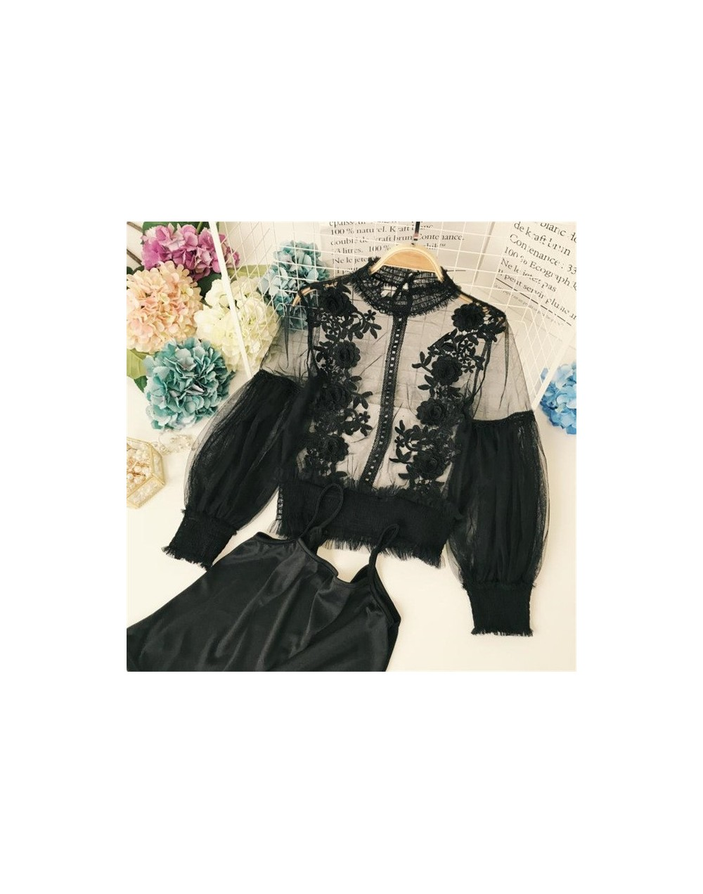 3D Flower Lace Women Blouse New Fashion Half Turtleneck See-through Puff Sleeve Blusas Two-piece Mesh Female Shirts 66794 - ...