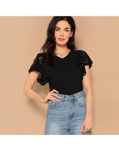 Lady Summer Elegant Black Laser Cut Flutter Sleeve V Neck Tee 2019 Casual Solid Butterfly Sleeve Women Tshirt Tops - Black -...
