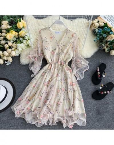 Woman V-neck Flared Sleeve Chiffon Flower Print A-Line Dress - Beige - 4H4142890269-1
