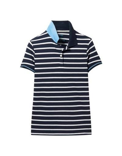 Women Polo Shirt Women Striped Pique Stretchy Stripes Slim Polos Mujer Short Sleeve Contrast Color Polo Feminina - 81Blue - ...