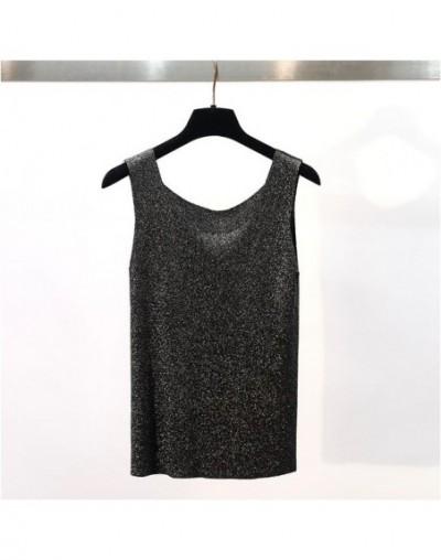 summer Glitter knit Tank Tops Women sexy girls camisole Shiny o-neck vest top sleeveless t shirt female basic casual knit ca...