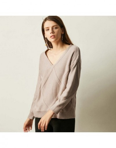 Large V-neck Autumn Cashmere Sweater Female Loose Retro Knit Pullover Women Sweater Soft Comfortable Wool Sweater Female Win...