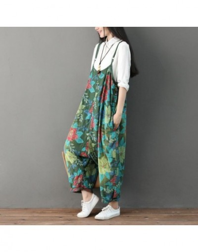Print Jumpsuits Ankle-length Pants Overalls Casual Loose Rompers New Summer Cotton National Style Thin Women Jumpsuit - Gree...