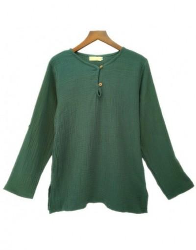 Spring Autumn Long sleeve cotton linen T-shirt Plus Size S- 5XL 6XL Clothes Teewomen shirtscamisetas femininas - Army Green ...