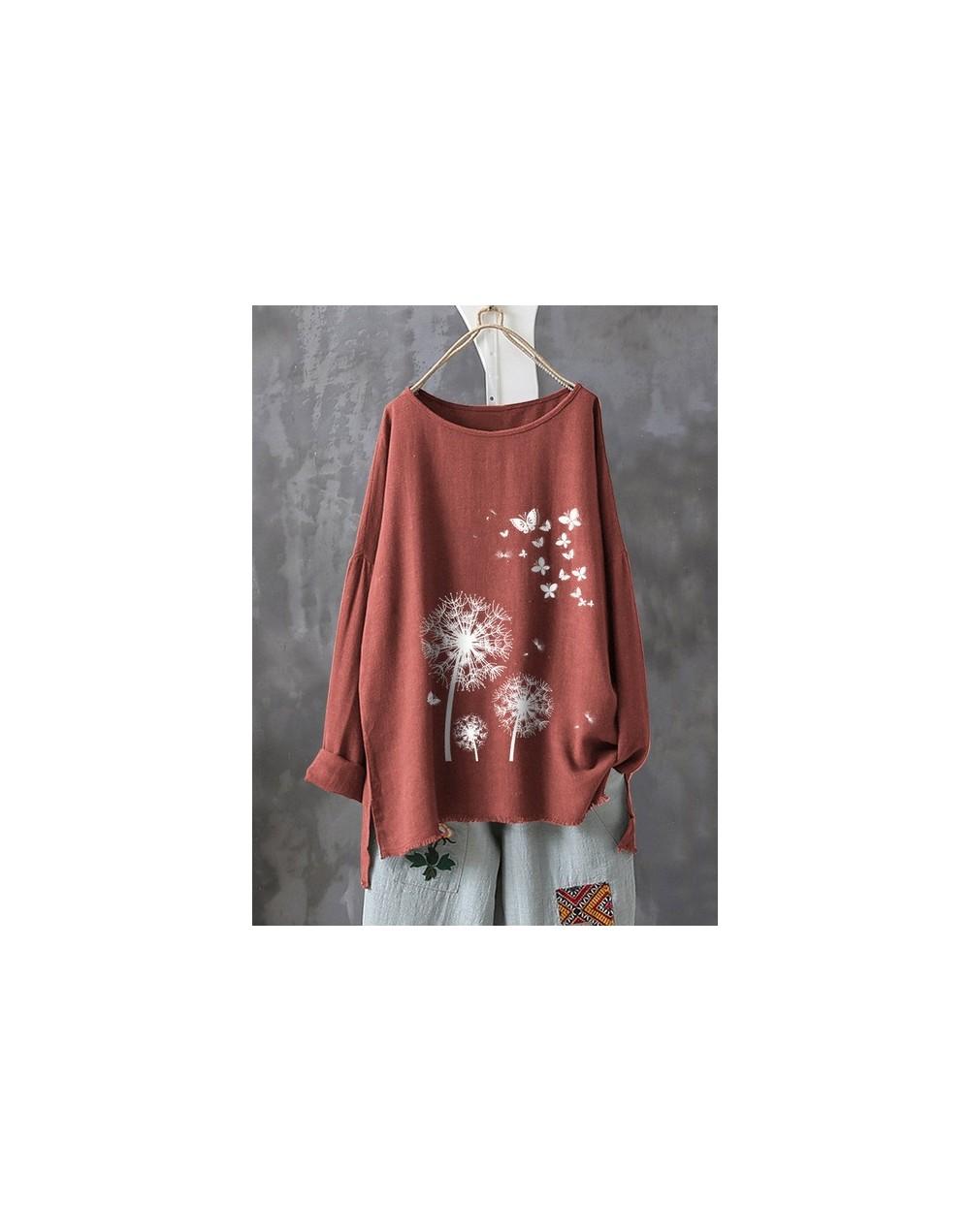 Dandelion Butterfly Printed Cotton Linen Tshirt Women Long Sleeve Split Pullover Tops Loose 4XL 5XL Plus Size Ropa Femme T-S...