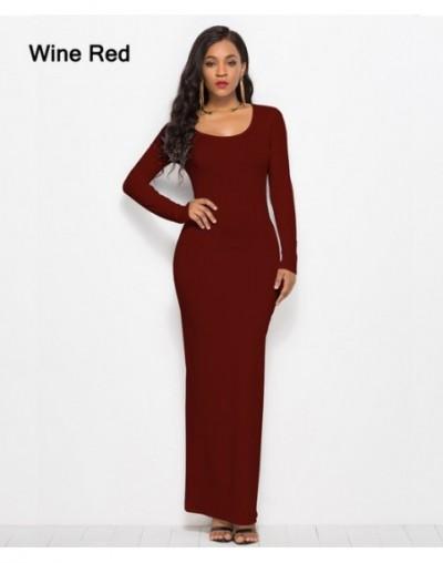 Casual Bodycon 2018 Summer Dresses Women Elegant Elastic Slim Straight Long Sleeve Maxi Dress Plus Size - RL1113-Wine Red - ...