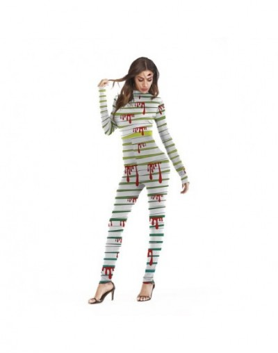 Halloween Carnival Costume top Skeleton Print Cos Clothing Long Sleeve Zipper Halloween Jumpsuit Streetwear Party Woman 2019...