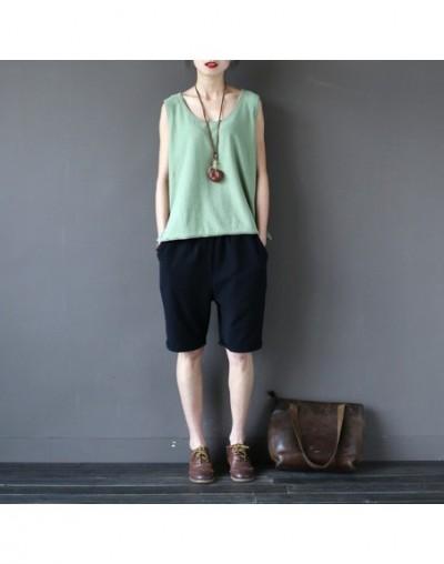 2019 Summer Women Linen Shorts Elastic Waist Vintage Straight Loose Casual Shorts - Black - 423802588148-1