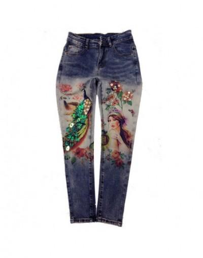 2018 New Slim Pencil Pants Vintage High Waist Jeans new womens pants Ankle-Length Pants print cowboy pants A393 - 8019 - 4E3...