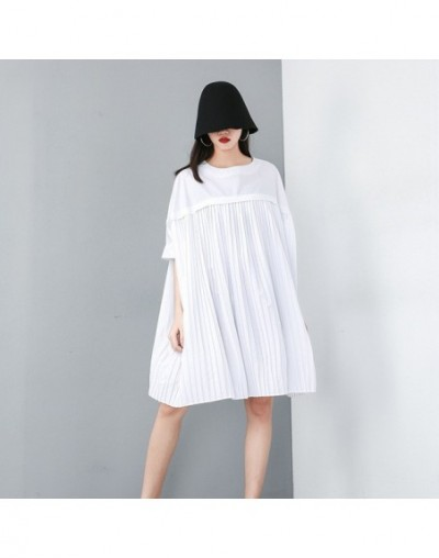 Summer Causal Solid Chiffon Women Dress O Neck Half Sleeve Loose Plus Size Knee Length Pleated Dresses 2019 Fashion New - wh...