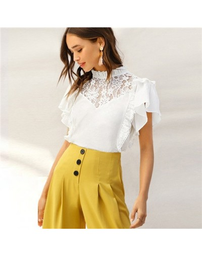 Elegant Frilled Neck Lace Patchwork Blouse Women 2019 Summer Flounce Sleeve Blouses Ladies Solid Keyhole Back Top - White - ...