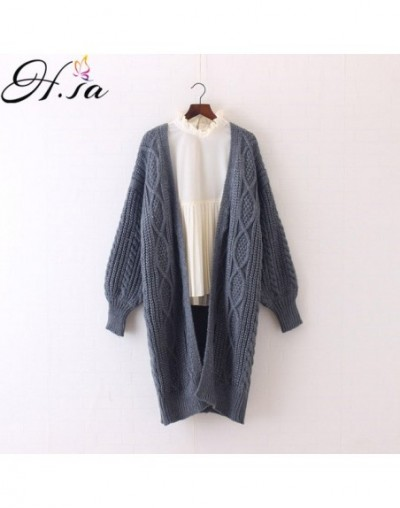 Winter Autumn Long Female Cardigans Latern Sleeve Casual Knitted Poncho Sweaters Oversized Long Cardigans Korean sueter - HF...