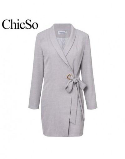 Gray plaid long sleeve dress blazer Women casual slim dress ladies suit Auutmn winter elegant office wear sexy suit - Gray -...