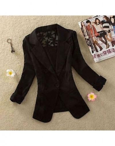 1PC Sexy Women Long Sleeve Lace Crochet Blazer Small Blazer Patchwork - black - 5Z111258447273-1