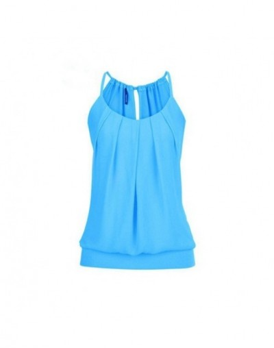 Summer Tanks TopS For Women Wrinkled O Neck Camis Sleeveless Solid Colors Draped Pleated Casual Loose Top Clothing For Women...