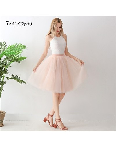 Gothic 5 Layers 65cm Mix Colors Tutu Tulle Skirt Women Streetwear High Waist Pleated Midi Skirts spudniczki jupe rokken fald...