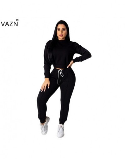New Autumn Free Regular Tracksuits Young Casual Fashion Solid Full Sleeve Long Pants Elastic Waist Women 2 Piece Set - Black...
