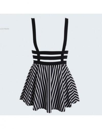 Preppy Style Suspender Skirts Women Girl Ruffles Skater Pleated Short Braces Skirt Back Zipper Hollow Out Skirt - type 2 - 4...
