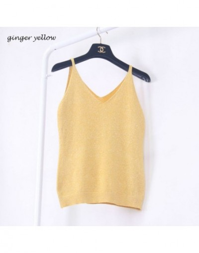 Women 2015 Summer Icecream Camisole Bruiser Crop Top Glettering Knitted Stretch Slim Tank Top In 9colors - ginger yellow - 4...