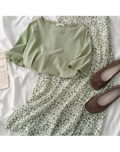 Flower Long Skirt Set Summer Two Piece Set 2019 Casual Casual Green T-shirt + Maxi High Waist Skirt Summer Outfits For Women...