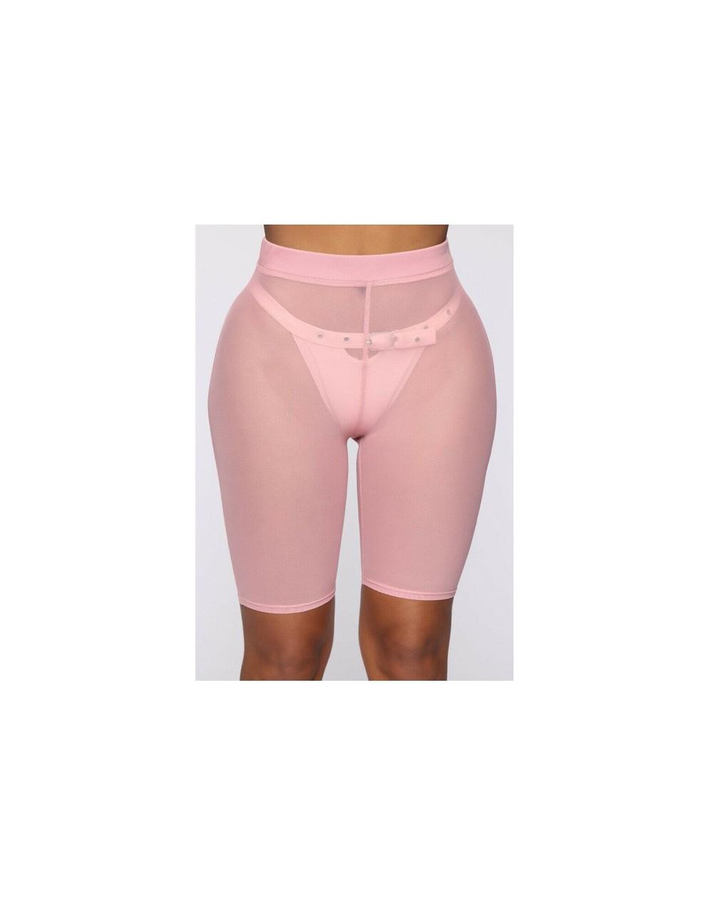 Mesh Shorts Women See-through Beach Swimwear Cover Ups New High Waist Pure Color Bikini Cover Ups Bathing Shorts - Pink no P...
