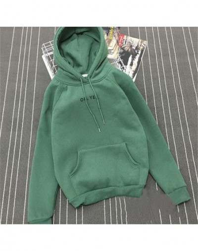 Autumn Winter Fleece Oh Yes Letter Harajuku Print Pullover Thick Loose Women Hoodies Sweatshirt Female Casual Coat - Green -...