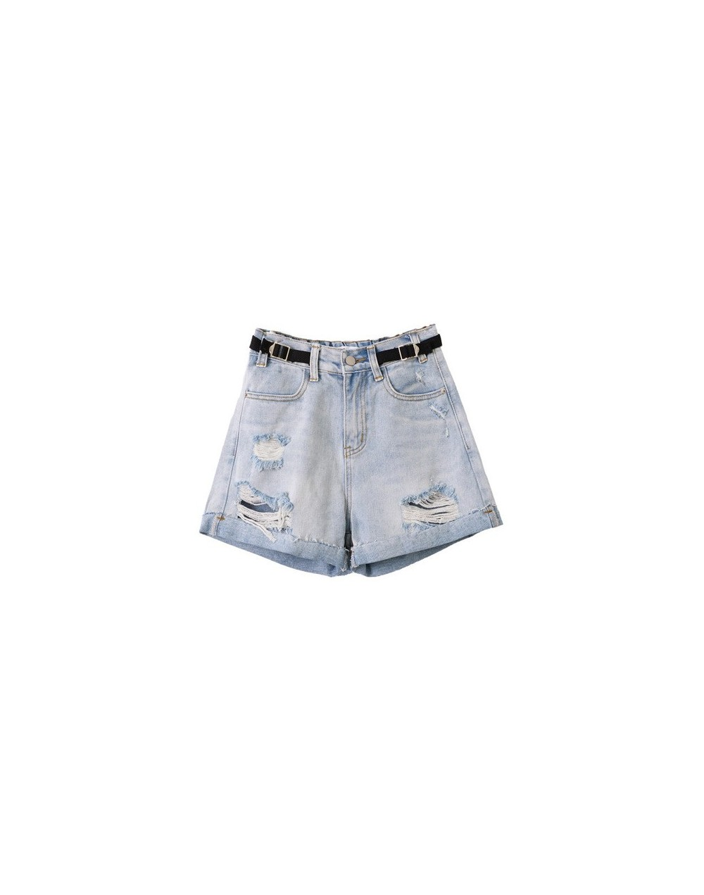 New Arrival Vintage Casual Summer Hot Sale Denim Women Shorts with PU Belt High Waists Leg-openings Plus Size Sexy Short Jea...