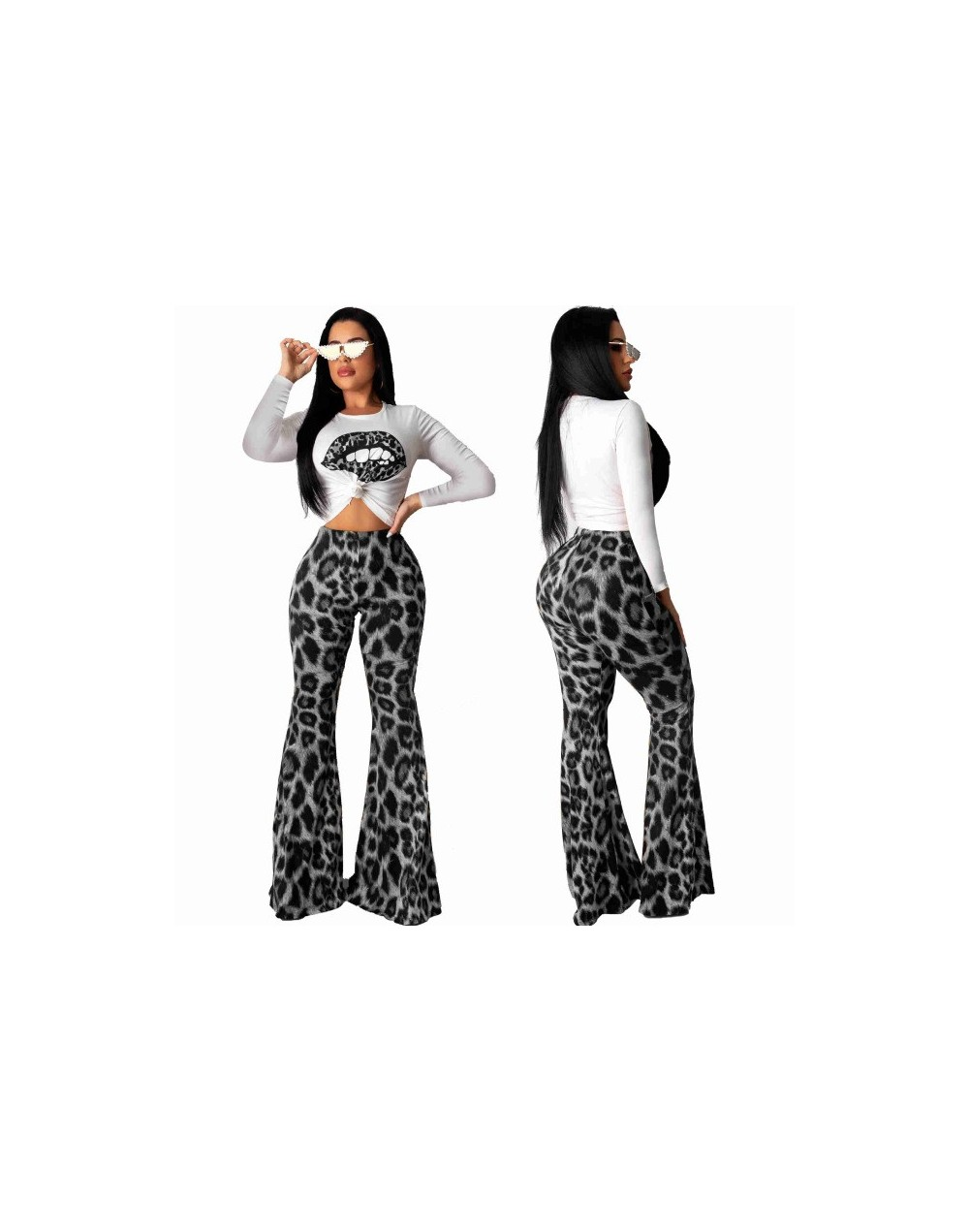 Woman Leopard Print 2 Pieces Sets Outfits Sexy Long Sleeve Top and Flare Pants Set Evening Party Matching Sets Summer Clothe...