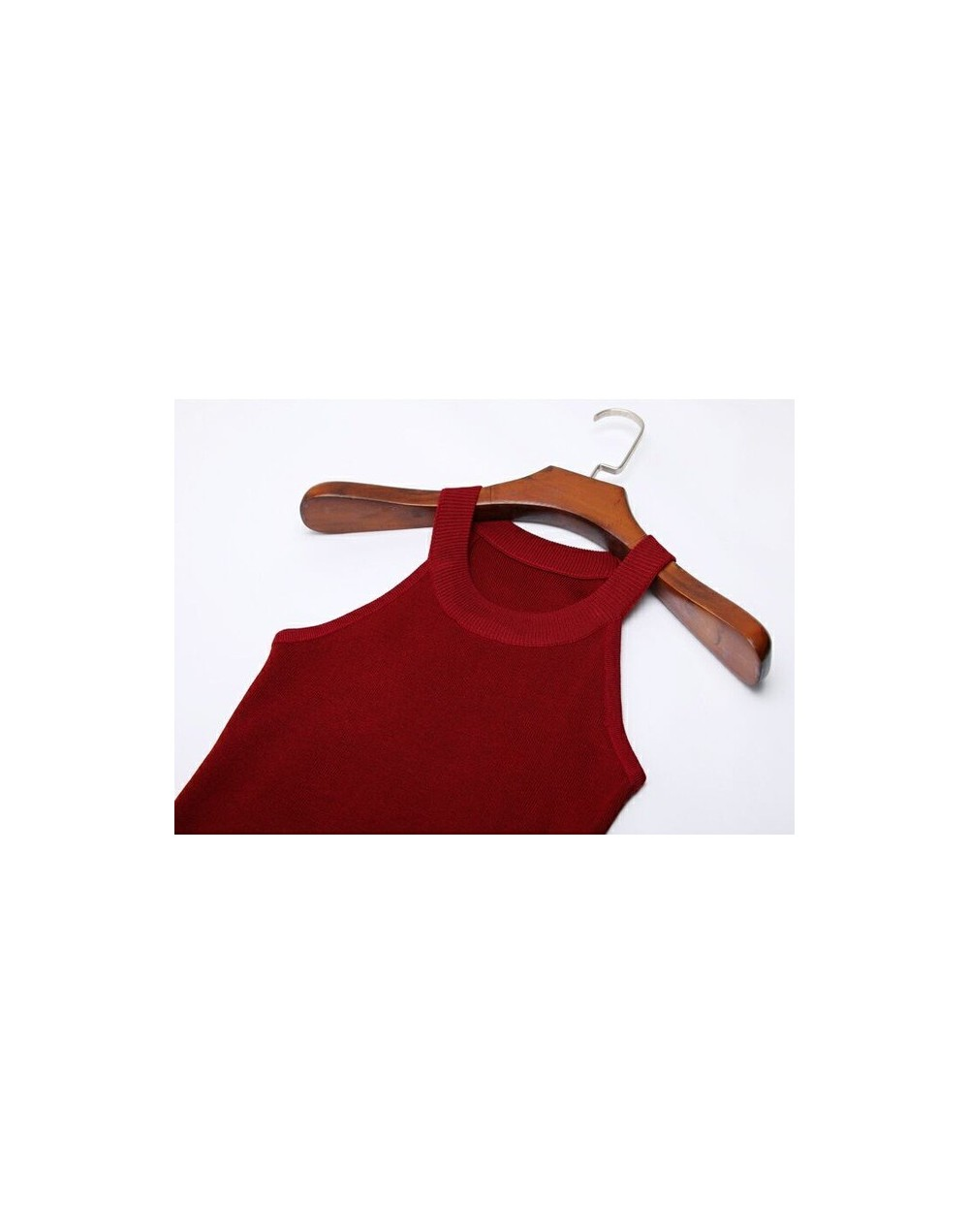 Summer Women Slim Knitting Halter Camisole Tops Female Bodycon Knitted Tanks Sleeveless Basic Solid T shirts 8017 - red wine...