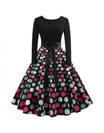 New Women Long Sleeve Midi Dress Casual Slim Plus Size Floral Print Autumn Dresses Dot Vintage Rockabilly Pin up Vestidos - ...