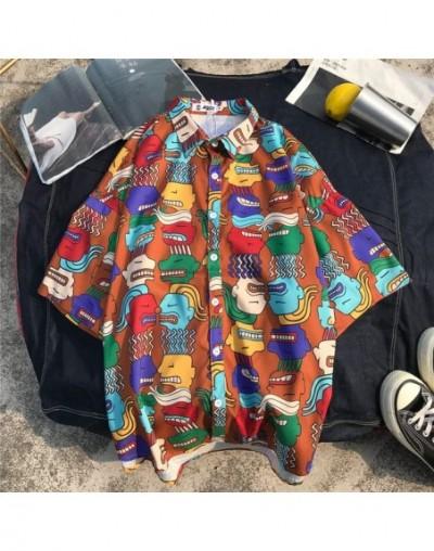 Japanese Streetwear Hiphop Blouse Casual Women Men Cartoon Print Loose Shirt Short Sleeve Harajuku Top Shirts 52000 - Khaki ...