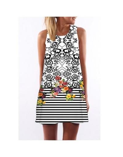 Striped Print Summer Dress 2018 New Fashion Casual Chiffon Dress Women Sleeveless Round neck Mini Beach Dress Sundress - pic...