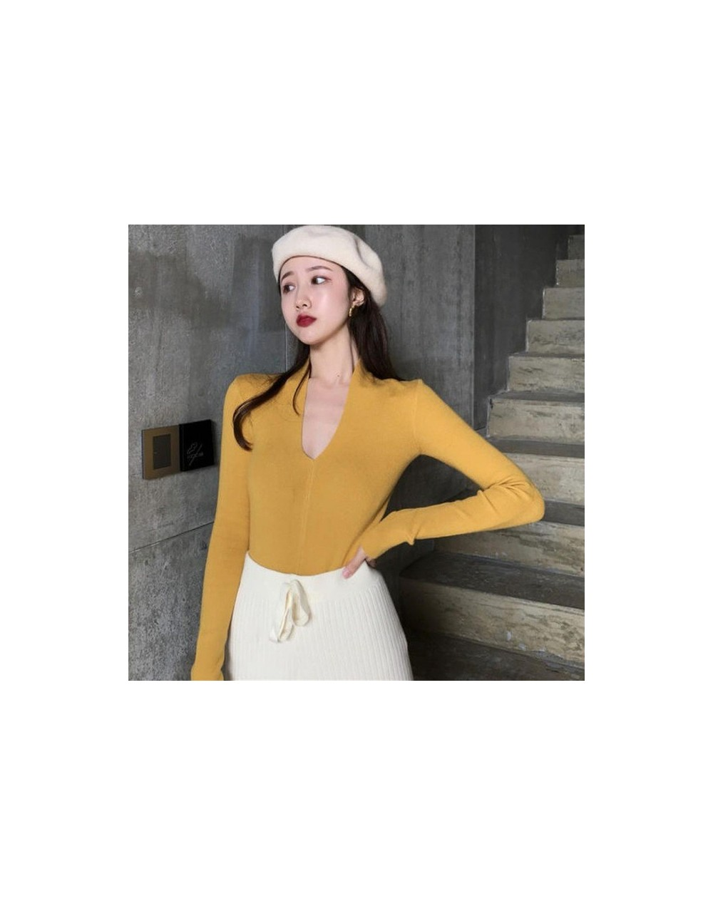 Korean Elegant Bow Tie Long Sleeve Women Knit Shirt Fashion New Wild V Neck Slim Bottoming Pullover Shirt - YELLOW - 5611119...