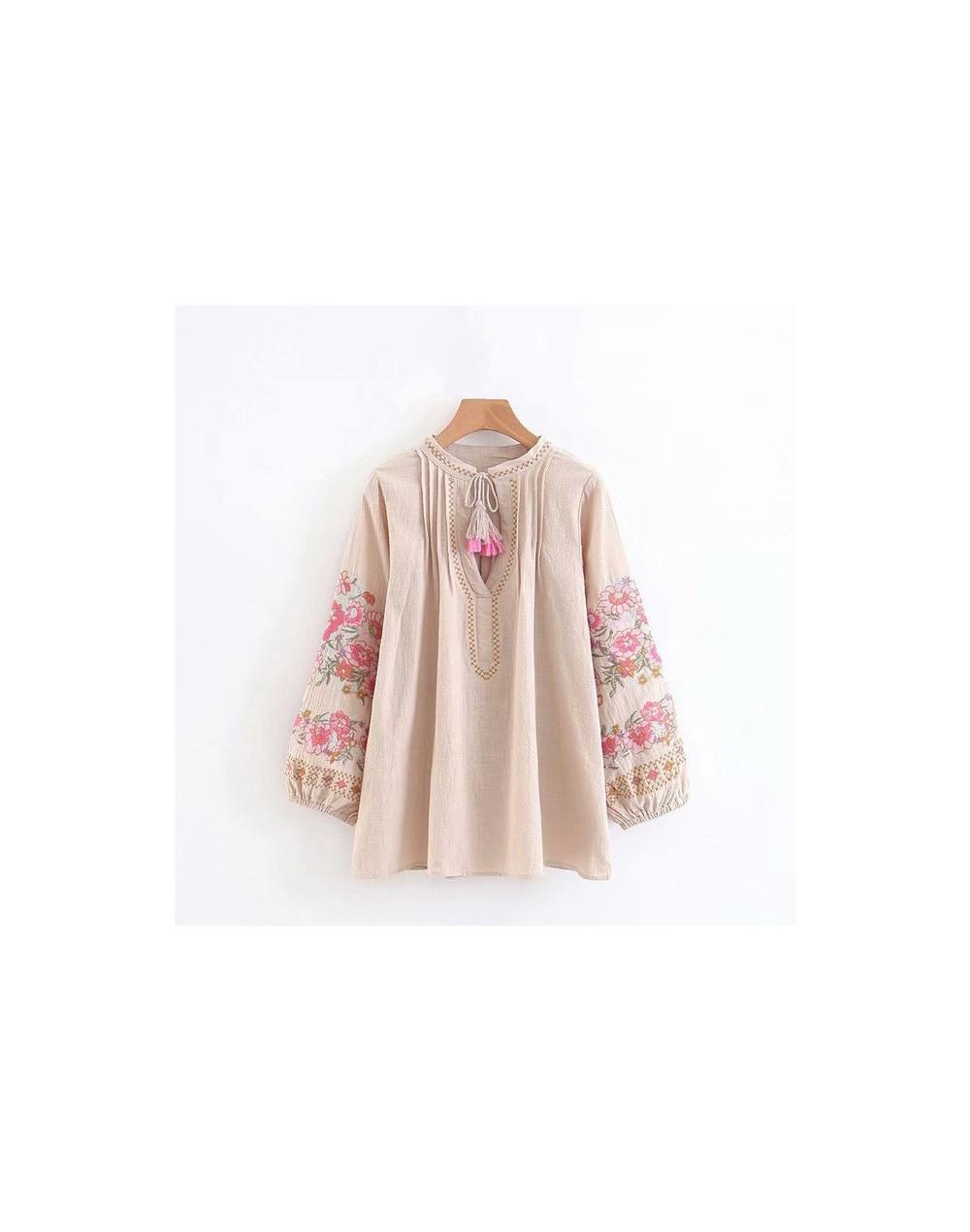Spring women bohemian Tassel shirt cute beach floral embroidery linen cotton blouse shirt flare sleeve loose Boho shirts blu...