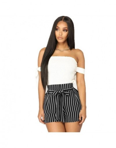 Striped Shorts For Sexy Womens High Waist Tie Bow Belt Short Pants Ladies Summer Pants 3 Color Loose Wide Leg Clothes Plus S...