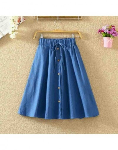 2019 Fashion Women Skirt Vintage Retro High Waist Pleated Midi Skirt Denim Single Breasted Skirt - D - 4L4117902554-4