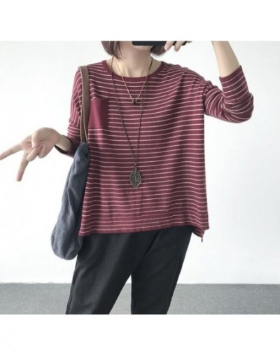 Women Striped Plus Size Sweater Autumn Spring2018 Pullovers Thin Irregular Loose long-sleeved Sweater Knit Loose Women Tops ...