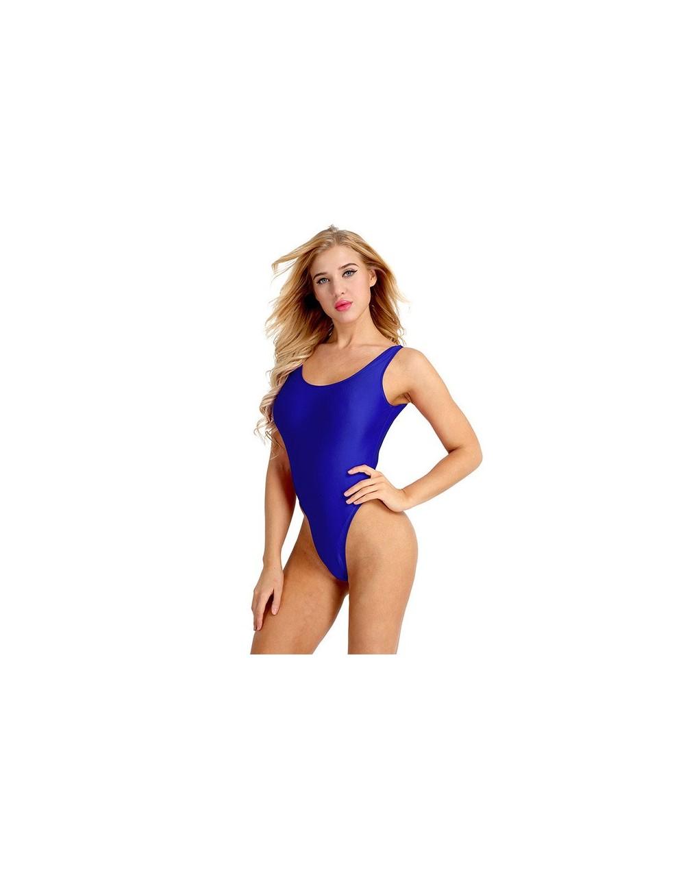 Womens Fashion Clubwear Bodycon Costumes Summer Bodysuit One-piece Swimsuits High Cut Low Back Stretch Leotard Bodysuit - Bl...