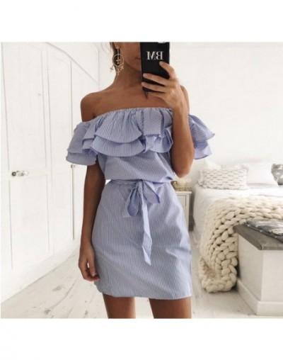 Women Dresses Striped Summer Dress Ruffle Collar 2018 Bandage Sundress Casual Sexy Bodycon Summer Dress Vestido De Festa - B...