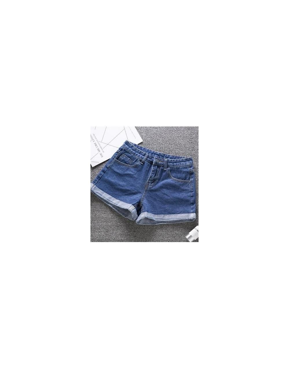High waist denim shorts large size 2XL female short jeans women 2019 summer New Ladies shorts solid color crimp denim shorts...